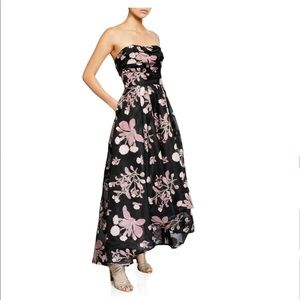 Marchesa Notte strapless floral embroidered dress